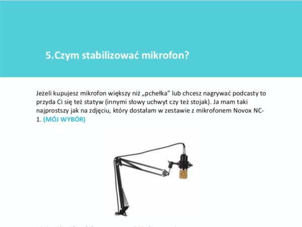 Opis stabilizatora do mikrofonu do webinarów i podcastów