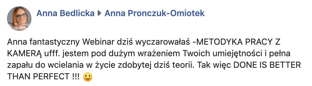 Rekomendacja Ania Bedlicka