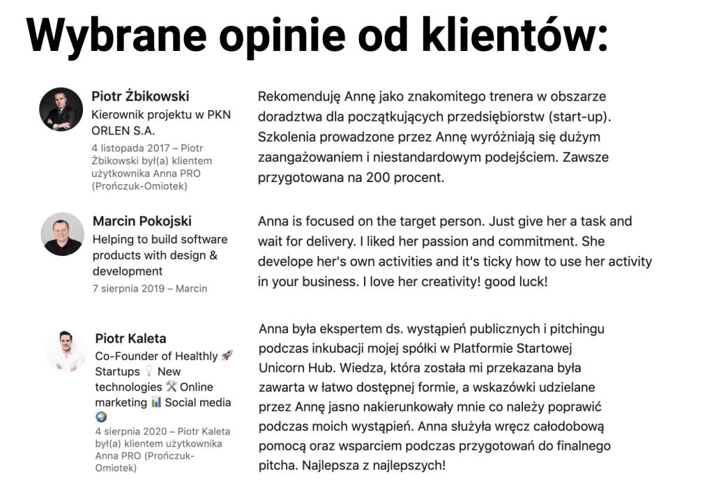 Rekomendacje Anna Pronczuk-Omiotek Trener wystąpień publicznych i webinarów