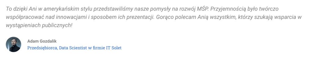 Rekomendacja Adam Gozdalik