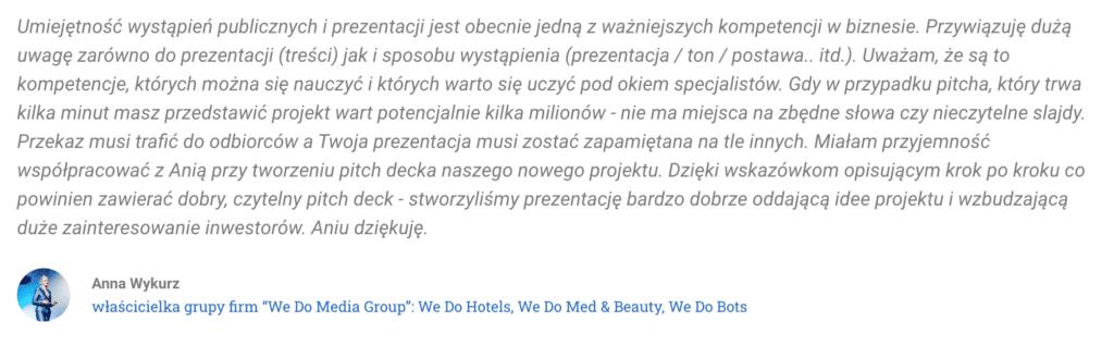 Rekomendacja Anna Wykurz